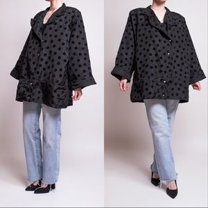 Vintage 80s black polka dot art to wear jacket